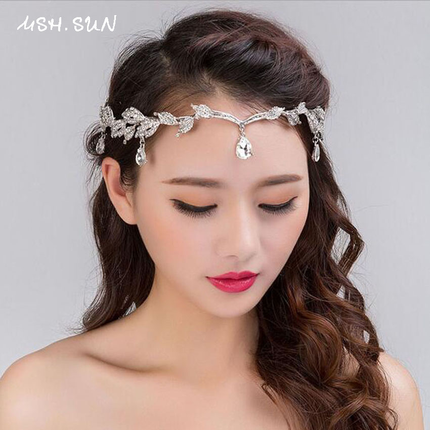 Wedding Hairstyles With Jewels: Sparkly Crystal Leaves Women Forehead Headband Head Chain