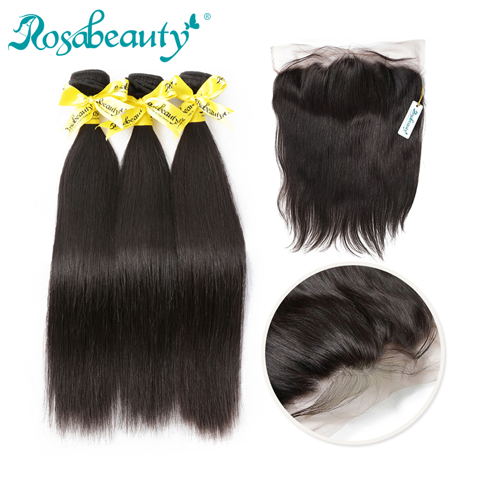 28 30 32 40 Inch Brazilian Straight Human Hair Weave Bundles With Frontal 13x4 Frontal Closure