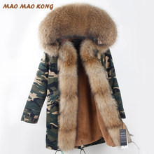 2019 New Fashion Winter Fur Coat With Big Raccoon Fur Collar faux liner Coat For Women Winter Parka Coat Free Shipping Top brand(China)