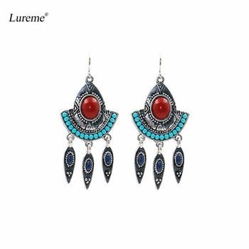 4ed257f827be Lureme joyas étnicas vintage sector azul Cuentas rojo resina flecha borla  cuelgan Pendientes (er005788)