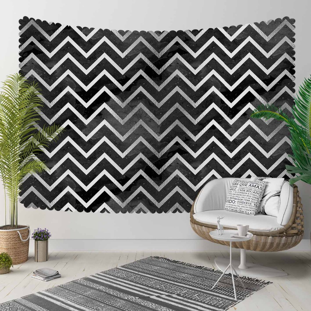 Else Gray White Stripes Lines Geometric  Nordec 3D Print Decorative Hippi Bohemian Wall Hanging Landscape Tapestry Wall Art