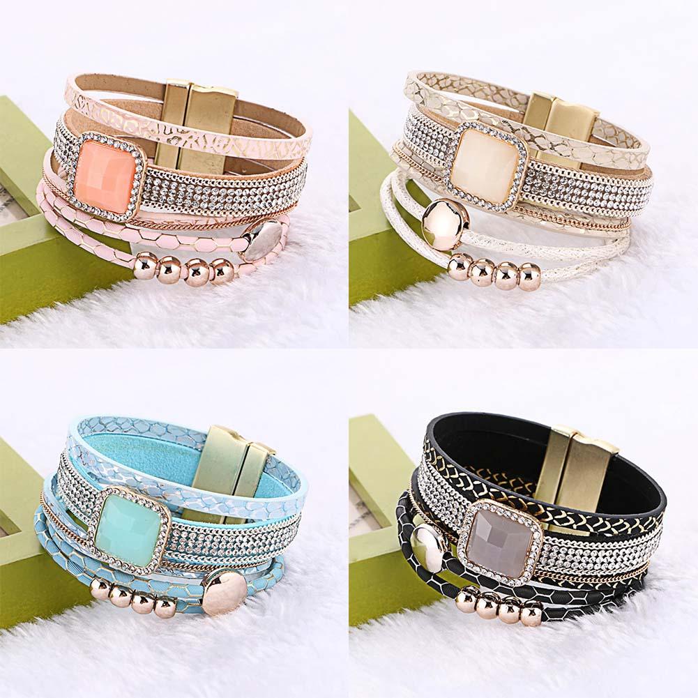 1 St Bohemian Lederen Ketting Magnetische Sluiting Kralen Braceelts Voor Vrouwen Mannen Vintage Clear Crystal Armband Drukknoop Sieraden