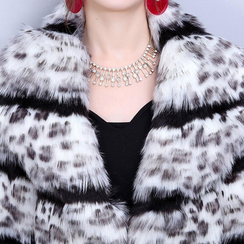 Plus De Manches En Longue Fausse Long Show Faux 2019 Lâche Mode Supérieure As Sexy Nouvelle La Fourrure Imprimé as Hf250 Femme Rayé Léopard Show Taille Qualité FUwqI0x6F