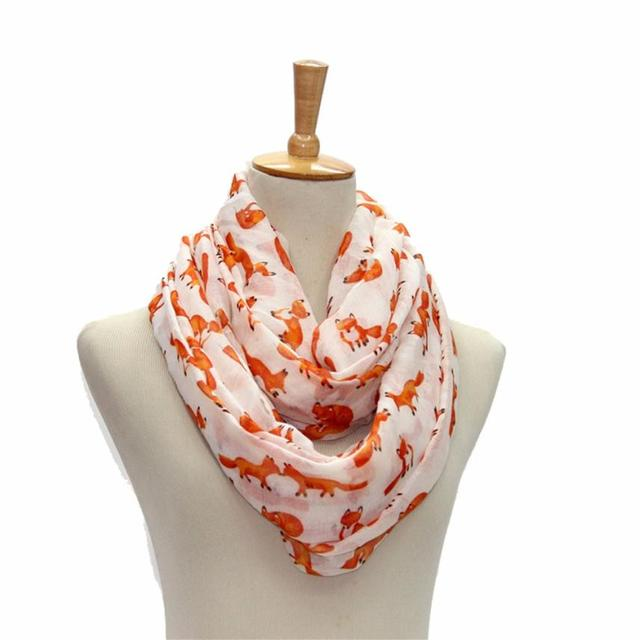 Women Voile Scarf Ladies Fox Pattern Print Wrap Shawl Female Ring Silk Infinity Scarves Loop Echarpes Femininas 2017 OR