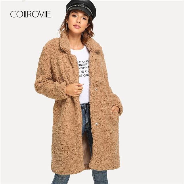 COLROVIE Plus Taille Chameau Solide Châle Long En Fausse Fourrure En Peluche Manteau Femmes 2018 Automne Bureau Chaud D'hiver Élégante Femme Lady outwear