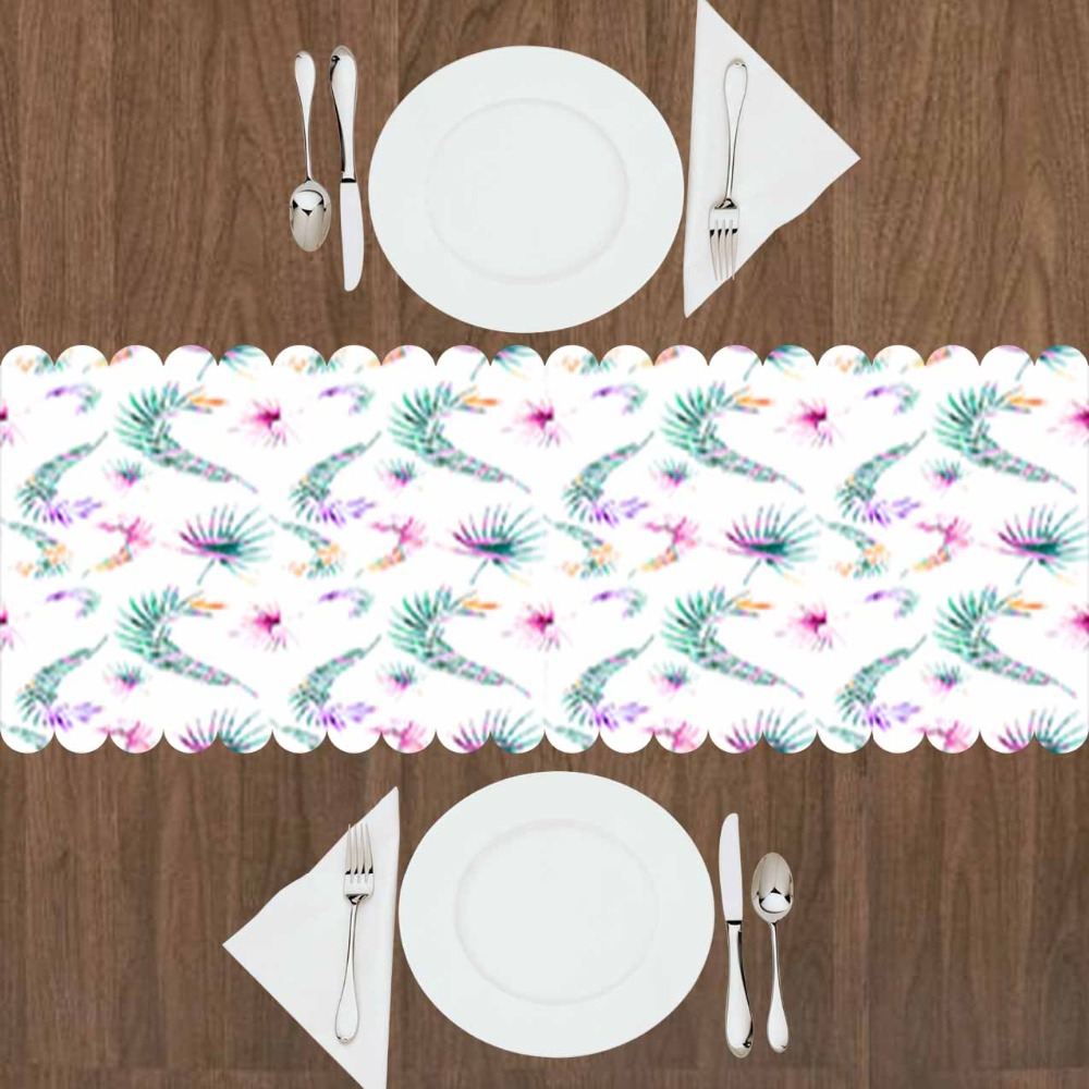 Else Green Tropical Leaves Purple Floral Flowers 3d Print Pattern Modern Table Runner  For Kitchen Dining Room Tablecloth