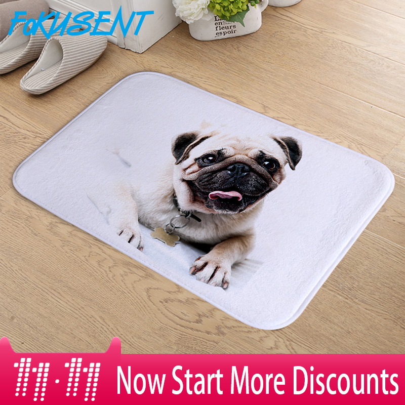FOKUSENT Fußmatte Indoor Drucken Nette Mops Hund Tür Matte Flanell Boden Matte Teppiche Tapis für Schlafzimmer Wohnzimmer 40*60 cm