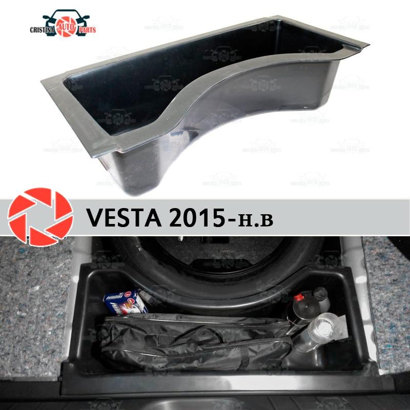 Para Lada Vesta 2015-compartimento organizador no porta mala do carro roda de plástico ABS styling acessórios do carro capa de proteção de guarda