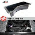 Para Lada Vesta 2015-organizador en la rueda del compartimento del maletero cubierta de protección de plástico ABS accesorios de diseño de coche