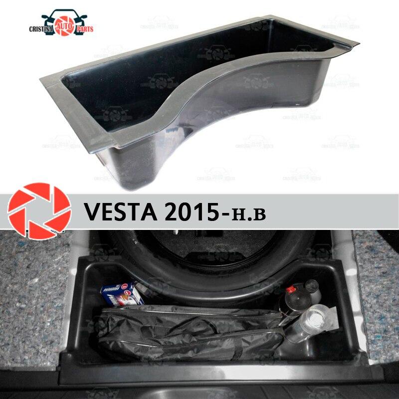 Pour Lada Vesta 2015-organiseur dans le compartiment de coffre roue en plastique ABS protection couverture voiture style accessoires garde
