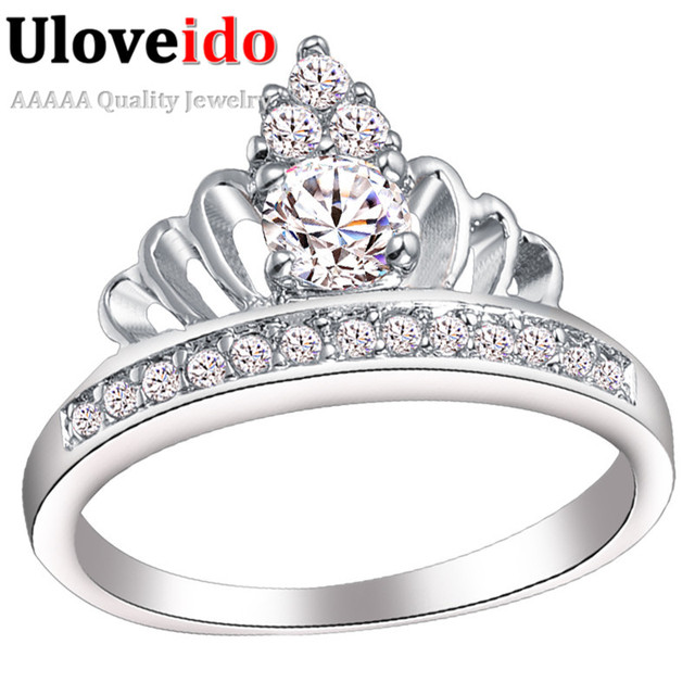 Uloveido CZ Stone Crown Wedding Ring Fashion Austrain Crystal Rings Party Silver Women Jewelry for Engagement Gift 30% off J228