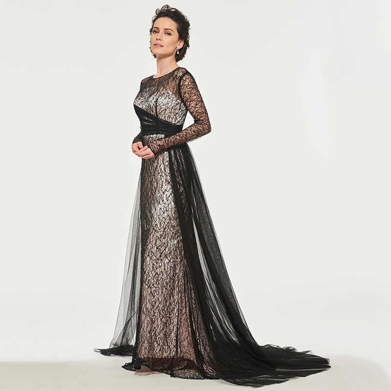 Dressv אלגנטי סקופ צוואר קו ארוך שרוולי אמא של הכלה שמלת כפתור רצפת אורך תחרה ארוך אמא שמלת הערב מותאם אישית
