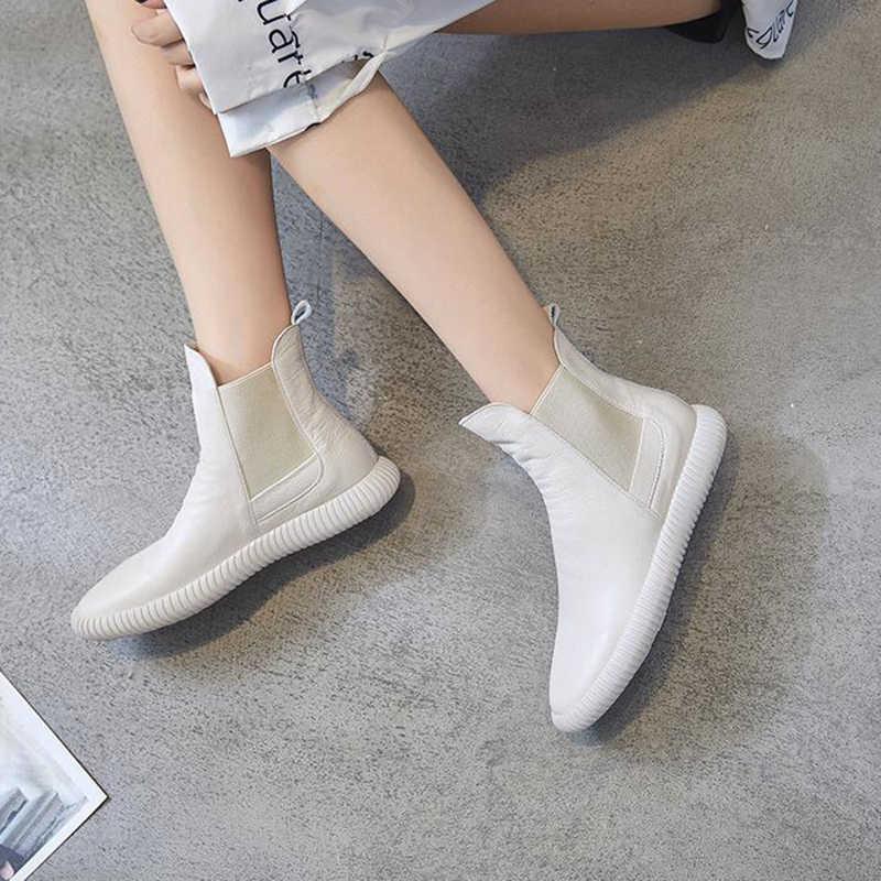 Kadın kış çizmeler ayakkabı botları hakiki deri ayak bileği ayakkabı bağbozumu rahat ayakkabılar marka tasarım Retro el yapımı kadın botları