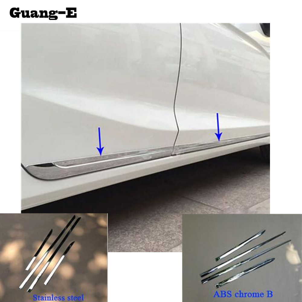 Car Stainless Steel/ABS Chrome Side Door Body Trim Stick Strip Molding Stream Lamp Panel For <font><b>Honda</b></font> <font><b>Fit</b></font> Jazz 2014 <font><b>2015</b></font> <font><b>2016</b></font> 2017 image