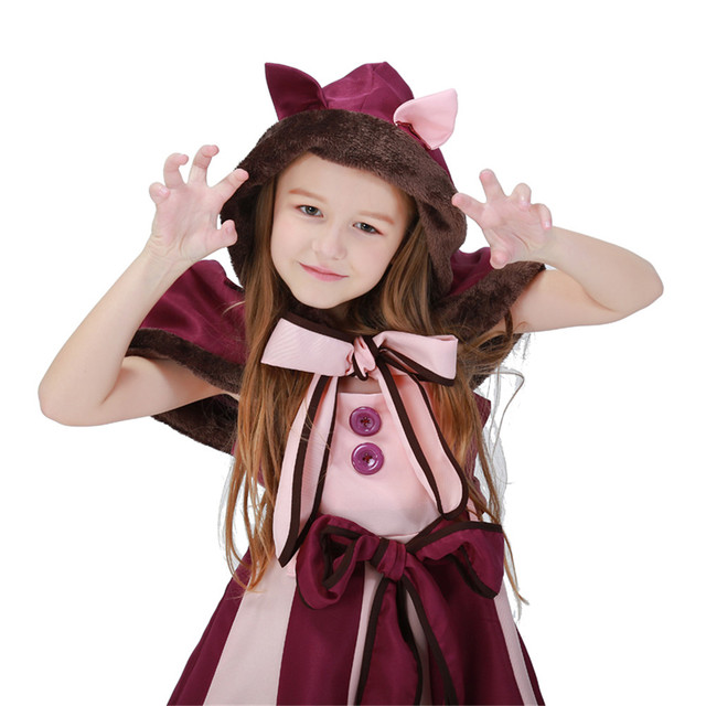 Coslive Kids Girls Alice In Wonderland Cheshire Cat Dress Maid Cosplay Costume Christmas Halloween Party Fancy Dress 1