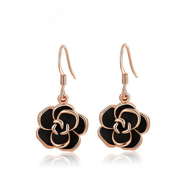 2018 Modyle Fashion Jewelry High Quality Rose  Filled Black Flower Glamourous Dangle Ladies Earrings