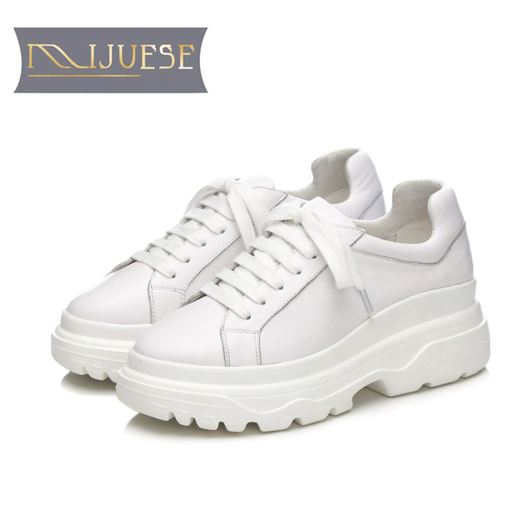 MLJUESE 2018 women sneakers cow leather lace up black color autumn spring cut outs Vulcanize Shoes