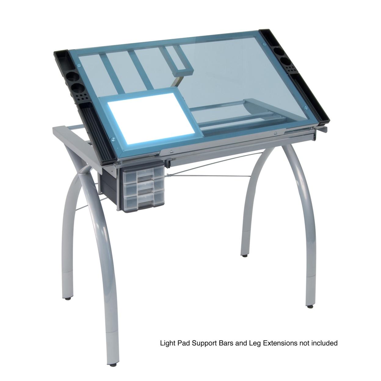 купить Craft Accents Folding Art & Craft Table - Silver / Blue Glass дешево