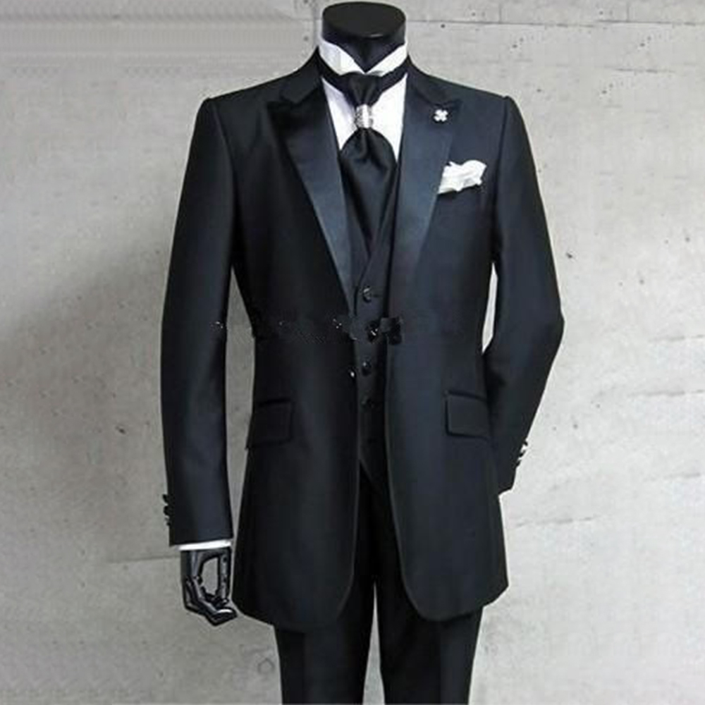 100% authenticated really comfortable top-rated newest US $146.5 |Custom Made to Measure Tailored men's BESPOKE suit,One Button  Black Groom Tuxedos Peak Lapel (Jacket+Pants+Vest)-in Suits from Men's ...