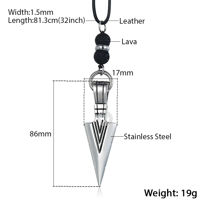 Leather Necklace for Men with Arrow Head Pendant
