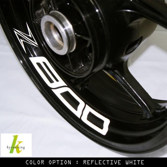 8 x custom inner rim decals wheel reflective stickers stripes fit kawasaki z 800 z800