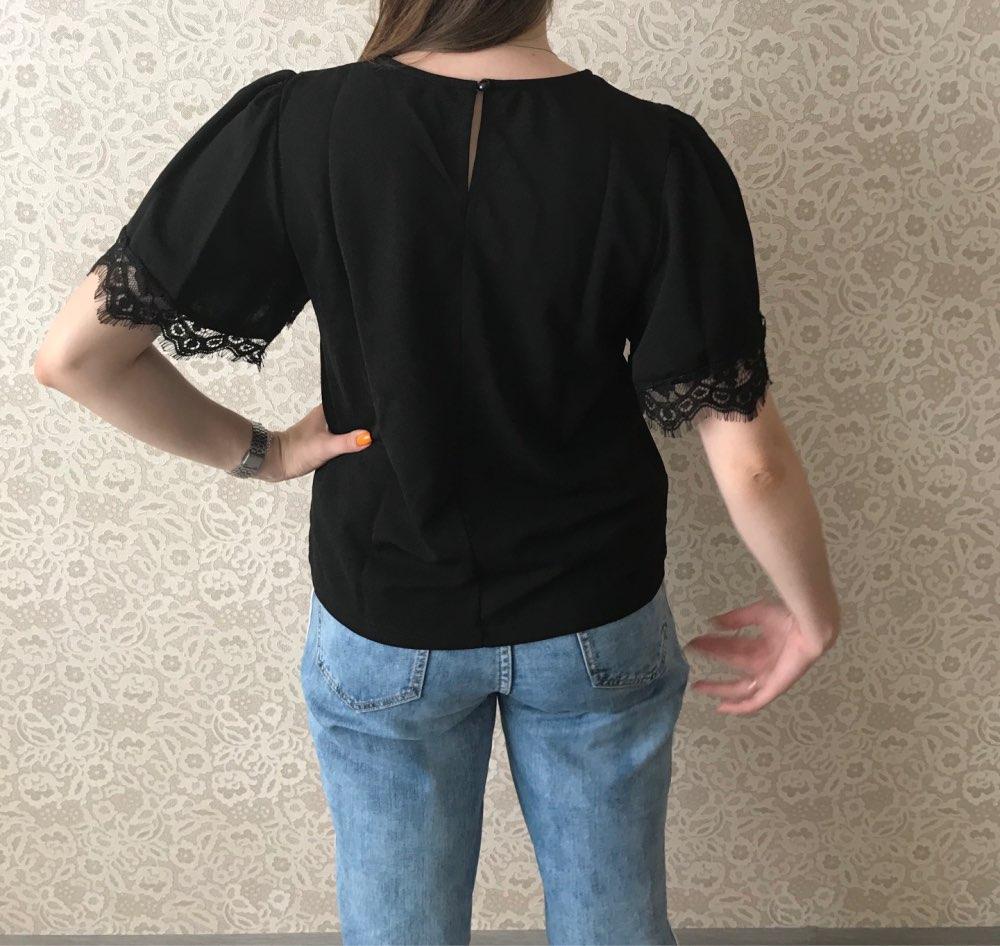 Casual Eyelash Lace Trim Black Blouse Women Summer Flounce Sleeve Blouses Ladies Minimalist Short Sleeve Top photo review