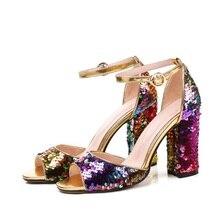 Women Colorful Sequins Sandals Gladiator Women Buckle Strap Chunky Heels Shoe Peep Toe Sandals Mujer Low Heels Shoes Sandalian rivet peep toe chunky heels