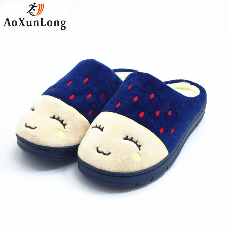 Winter New Men Slippers Clamshell Slide Couple Shoes Flat Quality Plush Warm Home Unisex Indoor Slippers Men Blue Size 42-44 11 new arrival fashion style couple wear shoes striped men women winter time slippers indoor wear unisex good quality comfortable