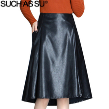 New Fashion PU Skirts Womens 2018 Autumn Black Pocket High Waist A Line Asymmetrical Skirt S-3XL Female Irregular Leather Skirt