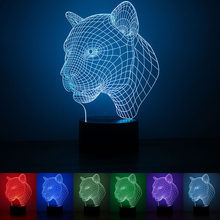 USB Powered Leopard Shape 3D Night Light LED Desk Lamp Touch Key Decoration Lights Use Home Hotel Party Holiday(China)