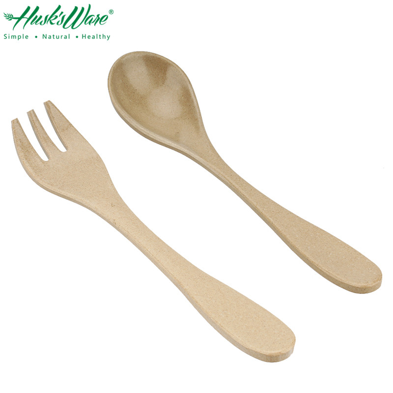 HUSKS WARE 2pcs Degradable Rice Husk Children Baby Dinner Spoon and Fork Cutlery Set BPA Free Healthy Kids Table Dinnerware