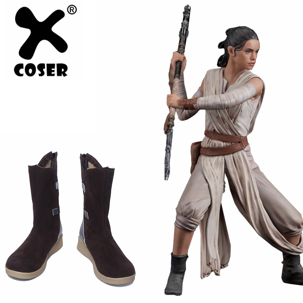 XCOSER Star Wars Rey Cosplay Shoes The Last Jedi Star Wars Rey Shoes Brown Boots Halloween Cosplay Costume Prop For Women