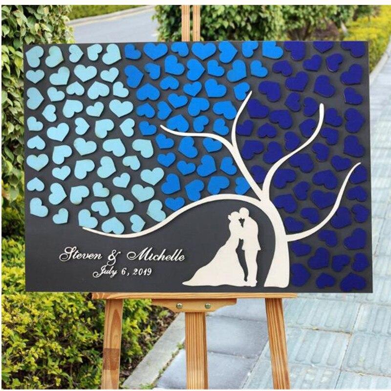 Personnalisé mariage livre d'or rustique personnalisé invité livres signe mariage décoration arbre coeurs jeunes mariés en bois livre d'or