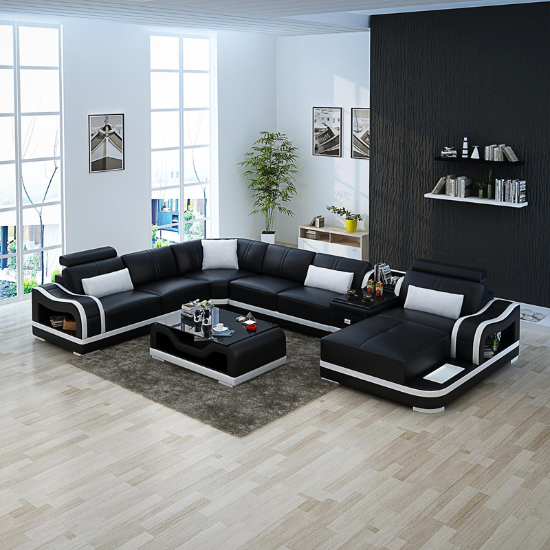 Good Quality Leather Sofa: High Quality Black Couch Living Room Leather Sofa Set