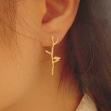 High Quality Jewelry Accessories Elegant Bird Tree Branch Shaped Alloy Gold Sliver Plated Woman Earrings(China)