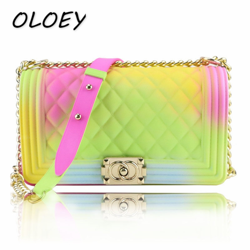 2019 Summer Colored Luxury Bags Women PVC Silicone Jelly Shoulder Messenger Bags for Women Crossbody Bags!(China)