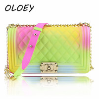 2019 Summer Candy Colored Luxury Bags PVC Silicone Jelly Shoulder Messenger Bags Chains Girl Crossbody Bags for Women!