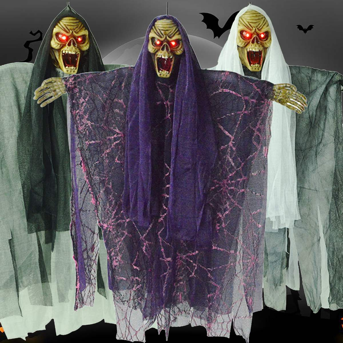 Diy halloween ghost3 - Hanging Voice Control Halloween Ghost Door Creepy Haunted House Props Home Bar Ktv Halloween Party Events