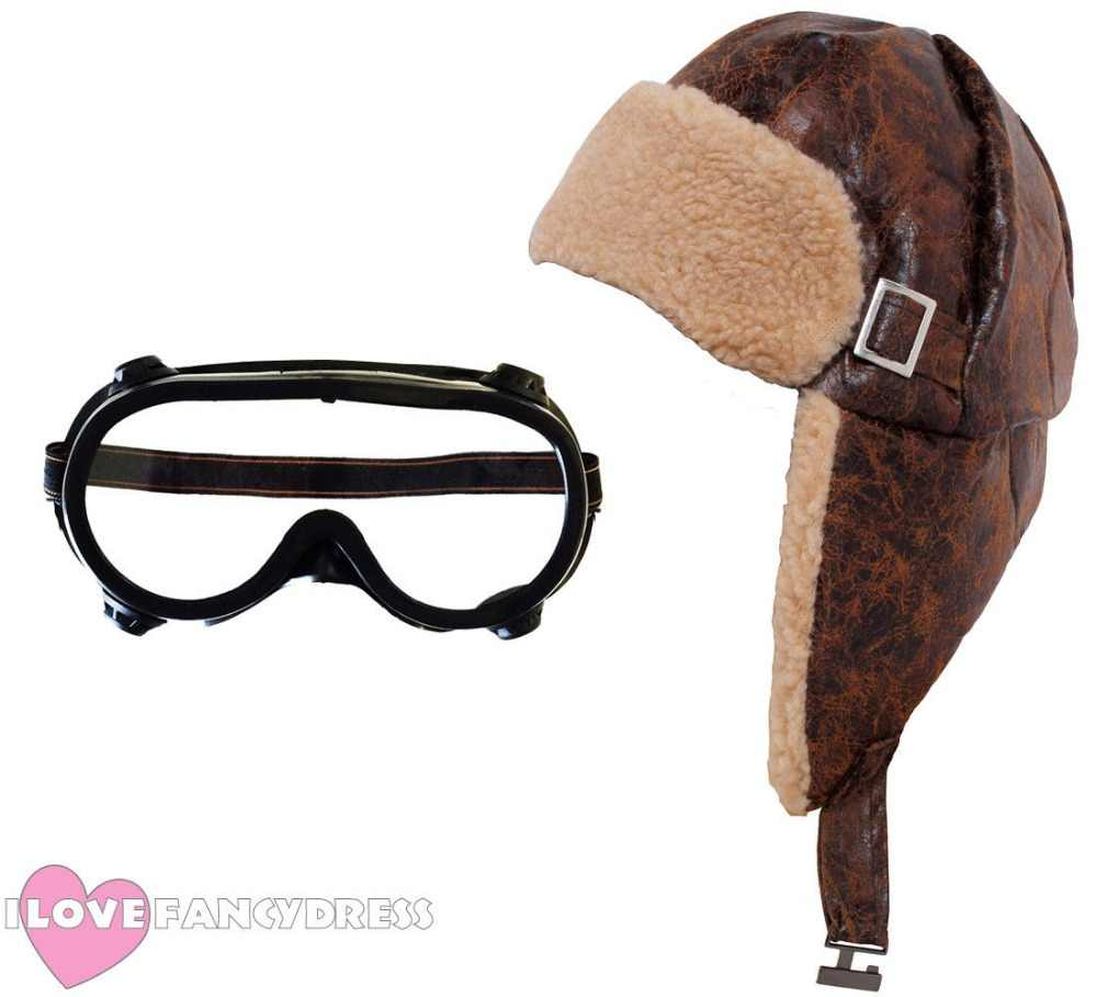 10af2b8276410 QUALITY ADULT KIDS FLYING HELMET AND GOGGLES 1940'S PILOT HAT AVIATOR FANCY  DRESS WW2 WARTIME COSTUME
