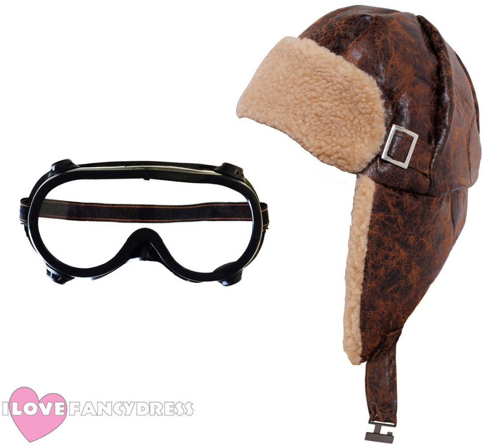 QUALITY ADULT KIDS FLYING HELMET AND GOGGLES 1940'S PILOT HAT AVIATOR FANCY DRESS WW2 WARTIME COSTUME ACCESSORY