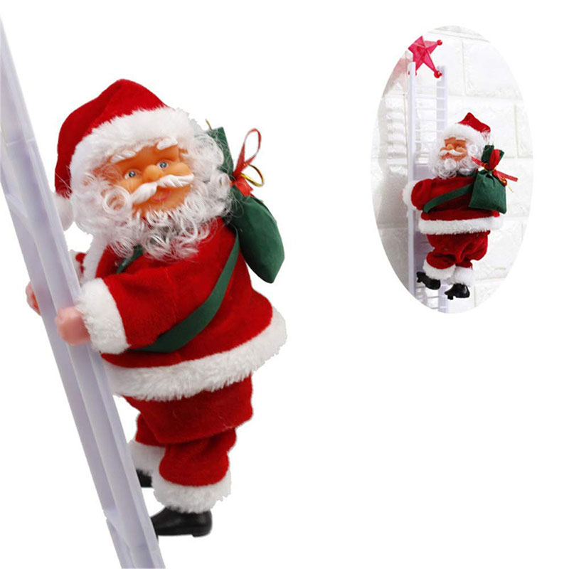 Électrique noël père noël jouets animé en peluche jouet porte mur de noël ornement cadeau de noël pour les enfants livraison gratuite