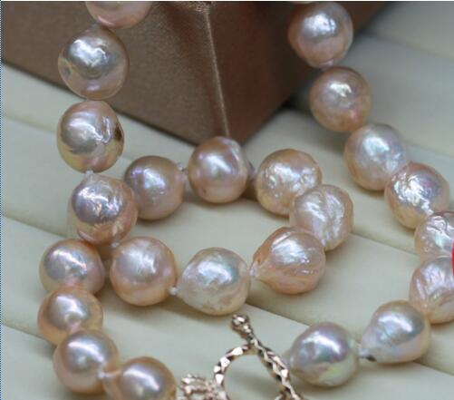 amazing 13 14mm natural Japanese kasumi pink pearl necklace 18inch >>>girls choker necklace pendant Free shipping