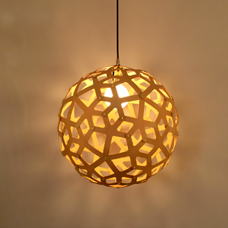 Northern European retro solid wood weave Pendant Lights creative round dining room living room bedroom E27 chinese style wooden pendant lights solid wood living room dining room pendant lamp creative bedroom study corridor hallway zs37