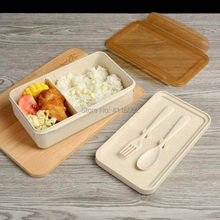 60pcs Wheat Straw Lunch Box Japanese Wheat Cutlery Lunch Box Rice Husk Dinnerware Student Portable Bento Food Container(China)