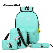Рюкзак Комплект печати холст рюкзак Для женщин симпатичные легкие Bookbags на среднем Школьные сумки для подростков Обувь для девочек