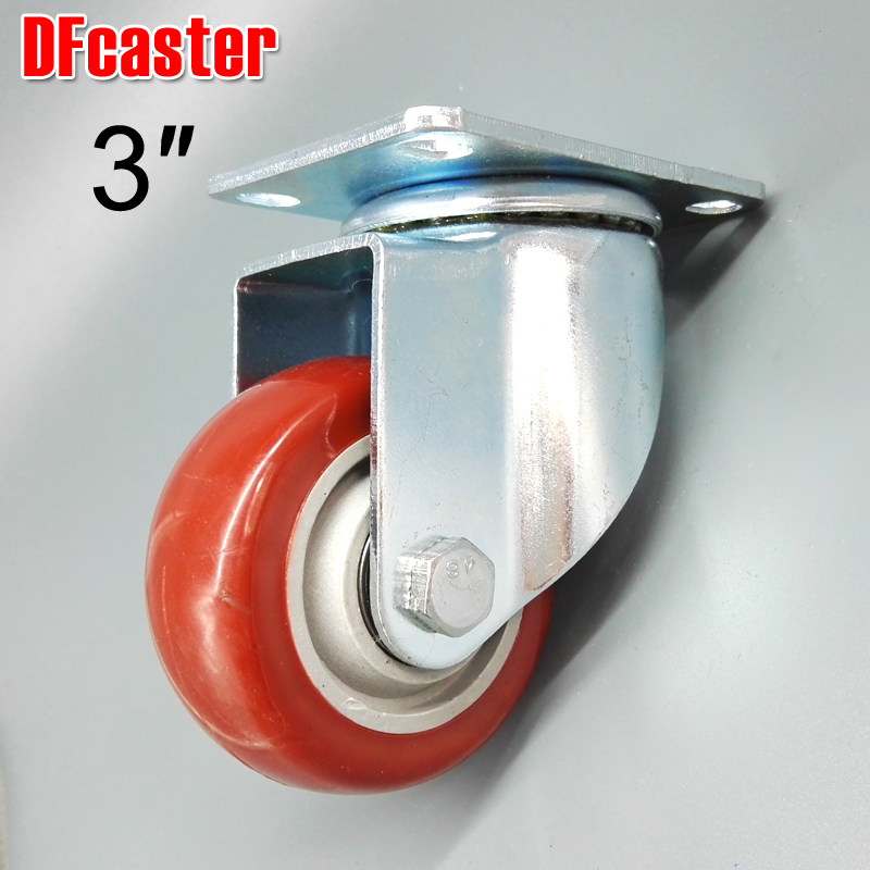 3 inch casters 360 Degree Caster Heavy Load carrying 100kg Furniture wheel Universal Castor Double bearing PU Trolley Wheels стоимость