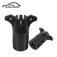 AutoLeader 1 Pcs 7 Way Round to 4 Pin Flat Trailer Light Adapter Plug Connector RV