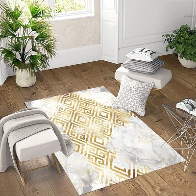 Else White Clouds Golden Yellow Ikat Geometric 3d Print Non Slip Microfiber Living Room Decorative Modern Washable Area Rug Mat