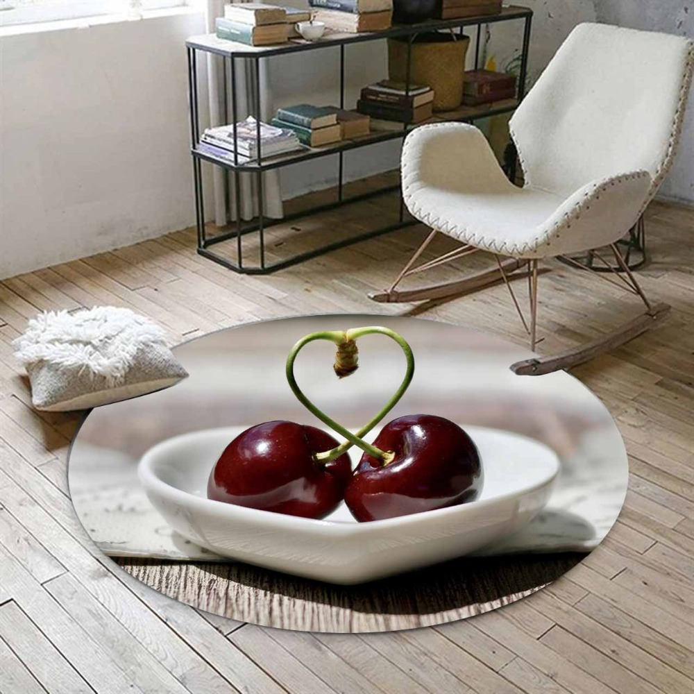 Else Red Cherry On Love Plates Fruits 3d Print Anti Slip Back Round Carpets Area Rug For Living Rooms Bathroom