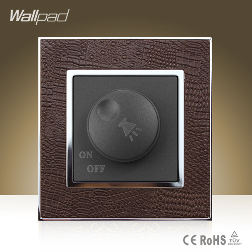 Module Wallpad Luxury 500W Voice Wall Switch Goats Brown Leather Rotary Voice Volume Regulate Wall Switch Free Shipping rotary encoderec40b6 l5ar 500